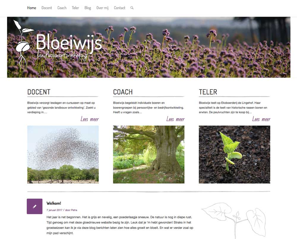 Bloeiwijs website homepage